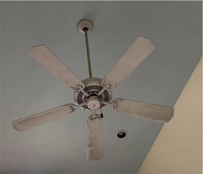 Ceiling fan with soot from a fire on it