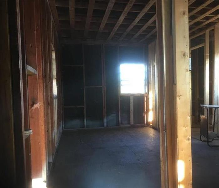 Framing of a room in a house clean of drywall and insulation