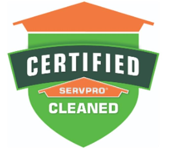 Certified Clean on a Shield in Orange and Green